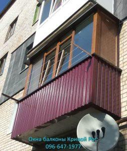 Обшивка балкона профлистом цвета вишня