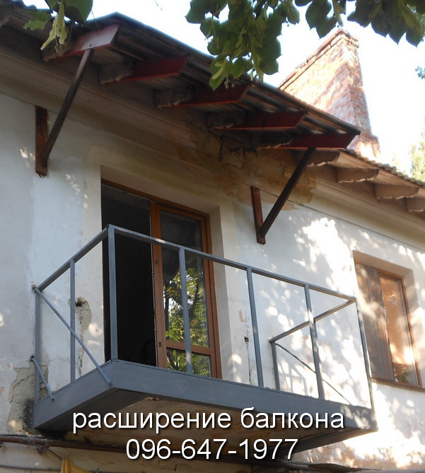 Укрепление балкона: вид сбоку и спереди
